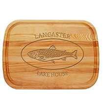 Entertaining for Him - Personalized Large Cutting Board with Trout Design