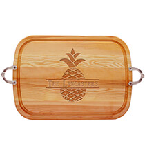 Personalized Large Handled Cutting Board with Pineapple Design