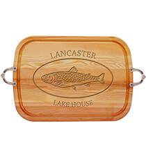 Personalized Large Handled Cutting Board with Trout Design