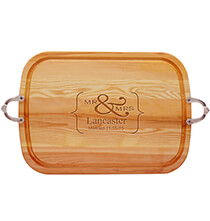 Gifts for the Hostess - Personalized Mr. & Mrs. Handled Cutting Board with Date