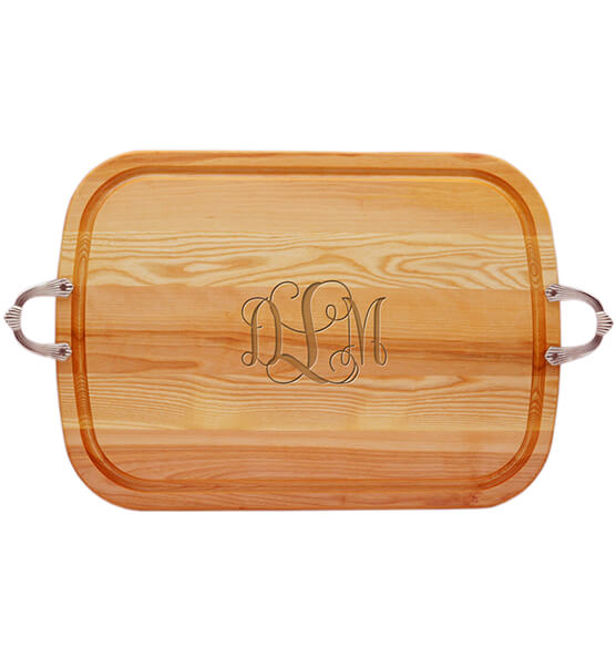 Personalized Large Handled Cutting Board with Times Monogram