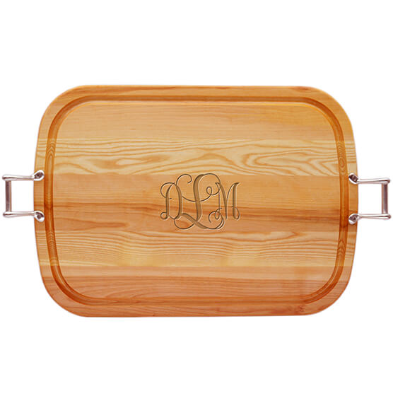 Personalized Square Handled Cutting Board with SCROLL Monogram
