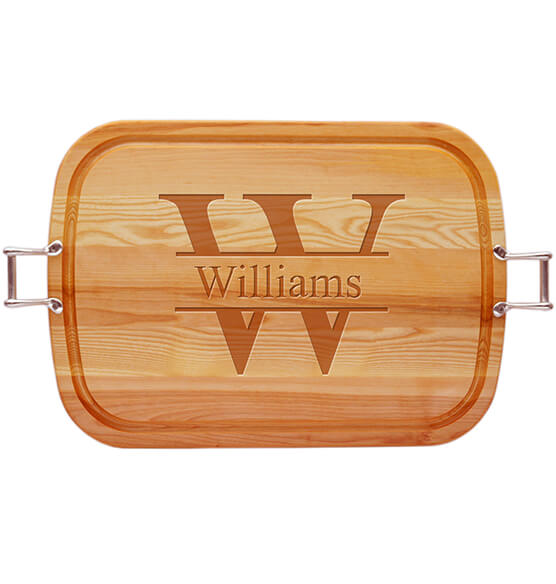Personalized Square Handled Cutting Board with Times Name