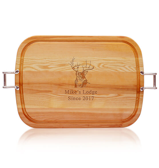 Personalized Square Handled Cutting Board with Buck Design