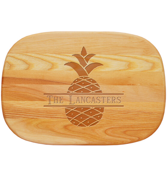 Personalized Medium Cutting Board with Pineapple Design