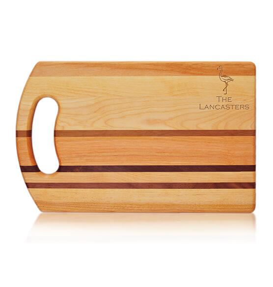Personalized Striped Handle Cutting Board with Flamingo Design
