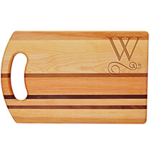 Gifts for Grandparents - Personalized Striped Handle Cutting Board with Scroll Initial