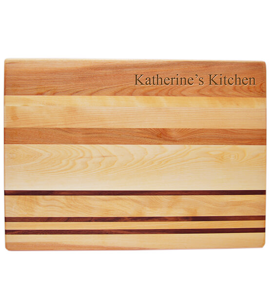 Personalized Striped Cutting Board with Name