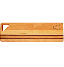 Cutting Boards - Personalized Striped Bread Board with Scroll Monogram
