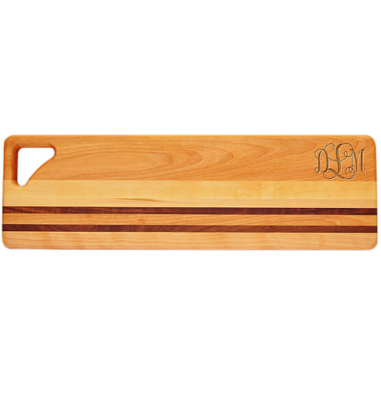 Personalized Striped Bread Board with Scroll Monogram