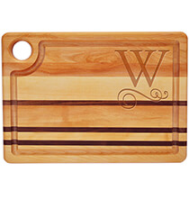 Cutting Boards - Personalized Striped Rectangle Cutting Board with Scroll Initial