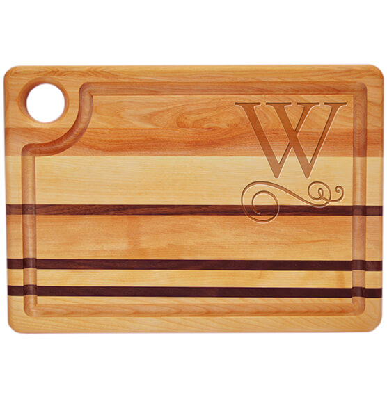 Personalized Striped Rectangle Cutting Board with Scroll Initial