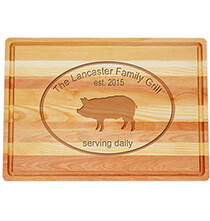 Cutting Boards - Personalized Large Block Cutting Board with Pork Design