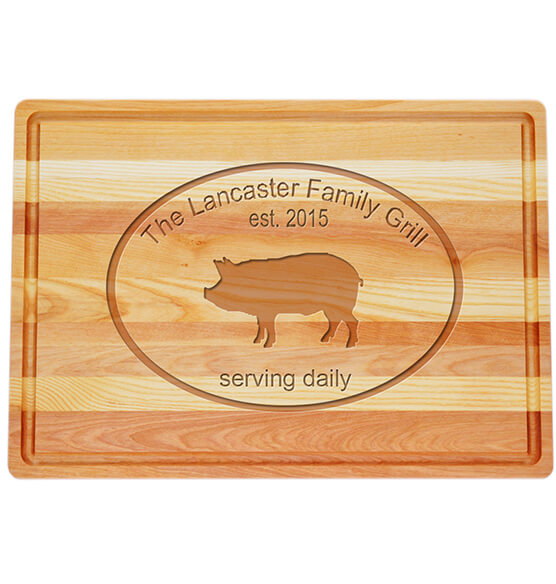 Personalized Large Block Cutting Board with Pork Design