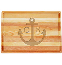 Cutting Boards - Personalized Large Block Cutting Board with Anchor Design