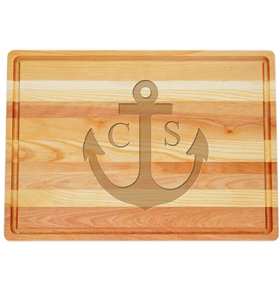 Personalized Large Block Cutting Board with Anchor Design
