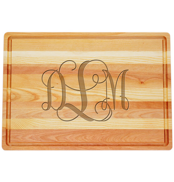 Personalized Large Block Cutting Board with Scroll Monogram