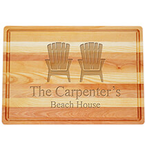 Gifts for Grandparents - Personalized Large Block Cutting Board with Adirondack Design