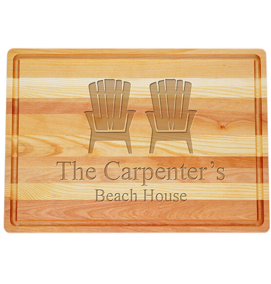 Personalized Large Block Cutting Board with Adirondack Design