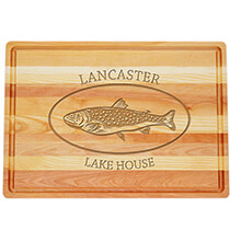 Entertaining for Him - Personalized Large Block Cutting Board with Trout Design
