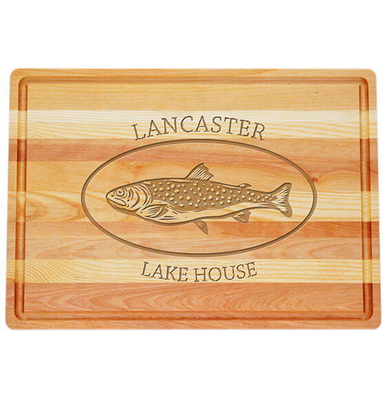 Personalized Large Block Cutting Board with Trout Design