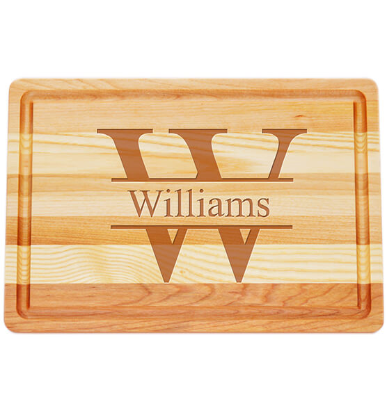 Personalized Medium Block Cutting Board with Times Name