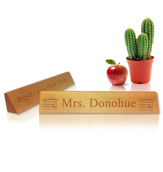 Personalized Teacher's Desk Name Plaque - Books Design