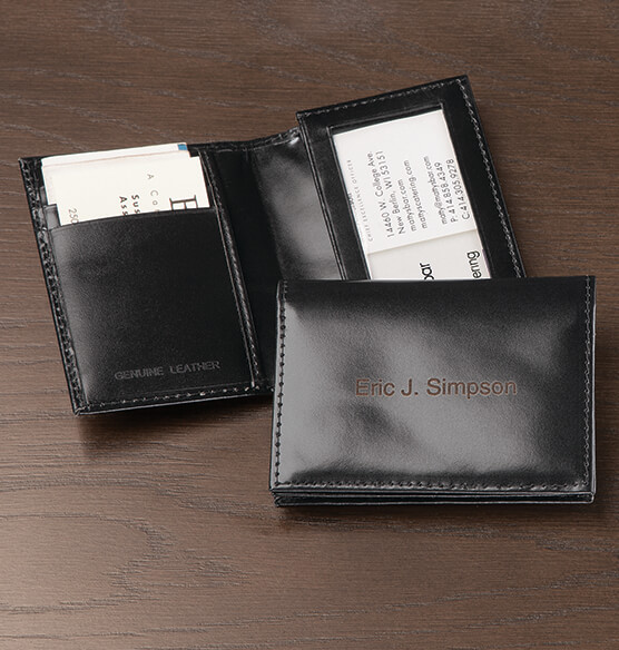 Personalized Leather Expandable Card Case - Black