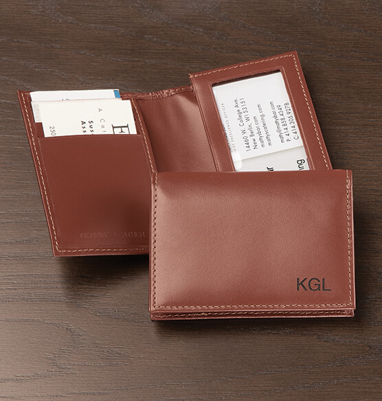 Personalized Leather Expandable Card Case - Brown