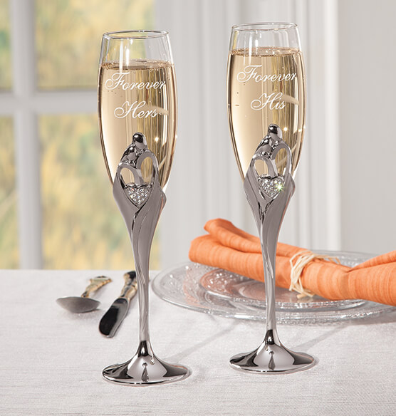 Personalized Love's Embrace Toasting Flutes