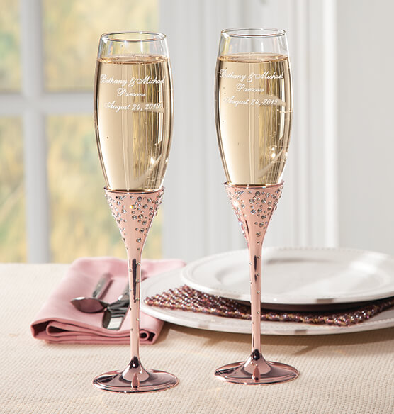 Eternal Love Rose Gold Toasting Flutes - View 1