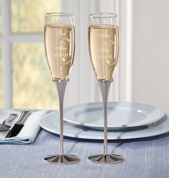 Personalized Forever Yours Toasting Flutes - View 1