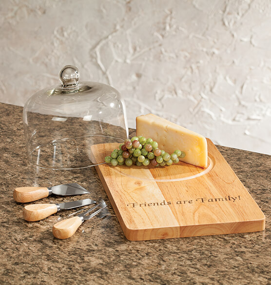 Personalized Domed Cutting Board with Tools - View 1