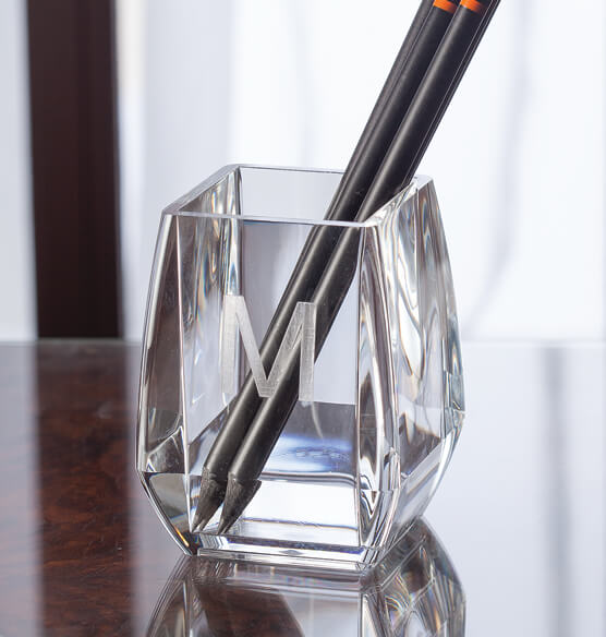 Personalized Clearylic Pencil Desk Cup