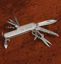 Gifts for Grandparents - Personalized Brushed Silver Pocket Knife with Tools