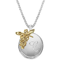 Easter - Personalized Oval Pendant with Angel Accent
