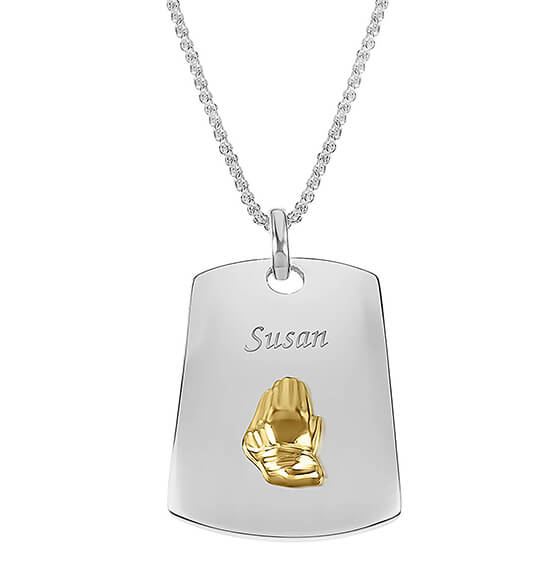 Personalized Praying Hands Dog Tag Necklace
