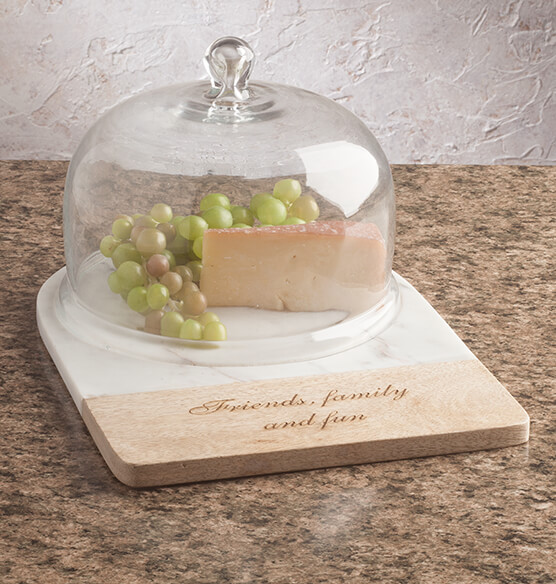 Personalized Marble and Wood Cheese Dome