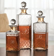 Personalized Etched Glass Decanters Set of 3