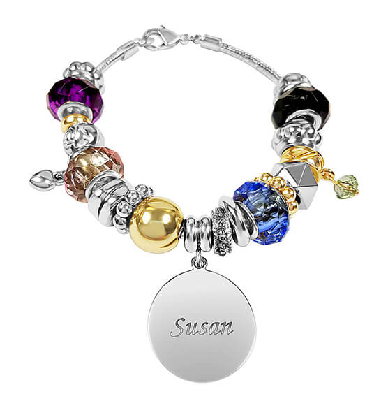 Personalized Two-Tone Multi Color Charm Bracelet