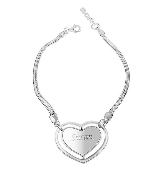 Personalized Sterling Silver Heart Bracelet
