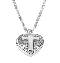 Top Gifts for Her - Personalized Filigree Heart Locket with Cross Necklace