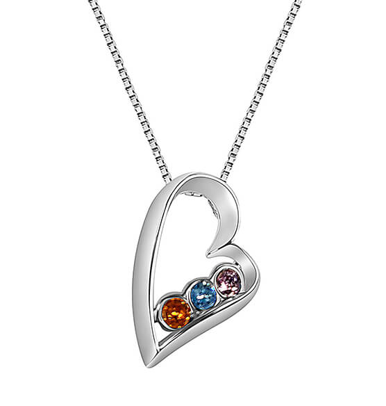 Sterling Silver Open Heart Birthstone Pendant Necklace - View 1