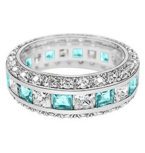 Top Gifts for Her - Birthstone and CZ Sterling Silver Ring