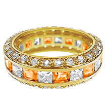 Top Gifts for Her - Birthstone and CZ Gold Plated Ring