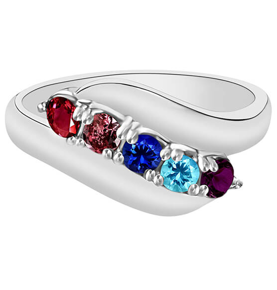Birthstone Crystals Bypass Ring
