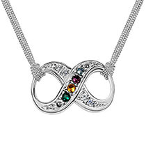 Mother's Day - Sterling Silver Infinity Birthstone Necklace