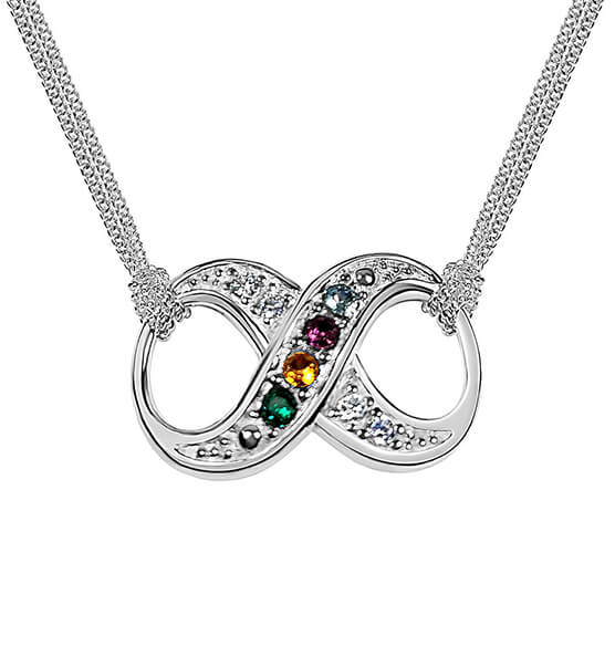 Sterling Silver Infinity Birthstone Necklace - View 1