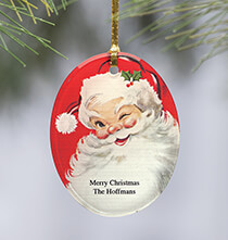 Personalized Jolly St. Nick Ornament   Add a Name or Initial for Free