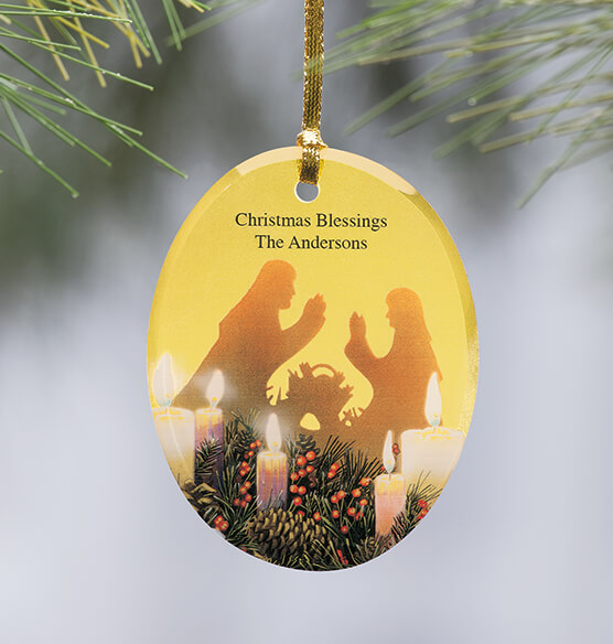 Personalized Candlelight Nativity Ornament
